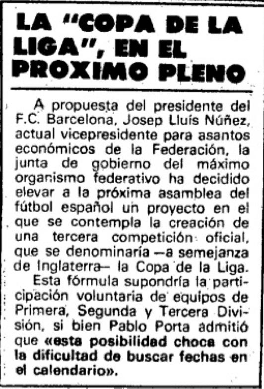 Noticia en el periódico sobre la Copa de la Liga