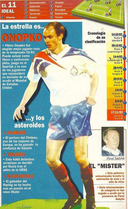 Viktor Onopko guía Marca Mundial USA 94