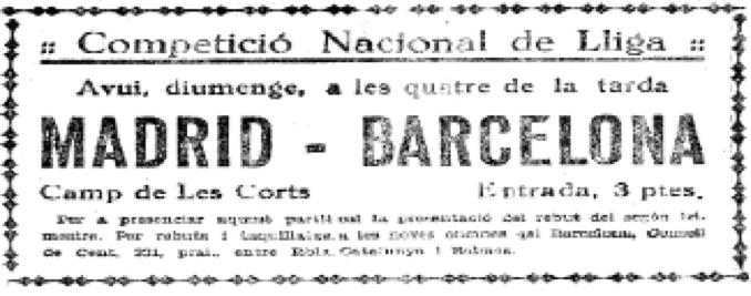 Anuncio en el periódico del Madrid Barcelona de 1932