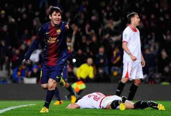 Messi celebra gol Sevilla