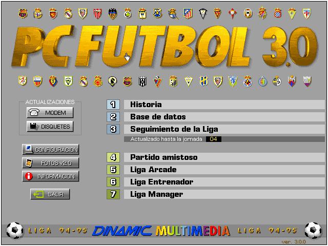Menú PC Fútbol 3