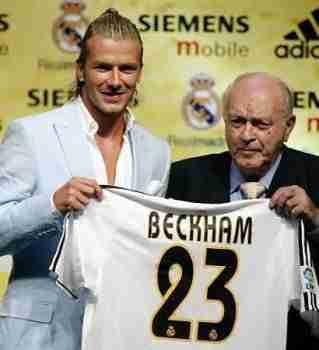 Presentación David Beckham Real Madrid con Alfredo Di Stéfano