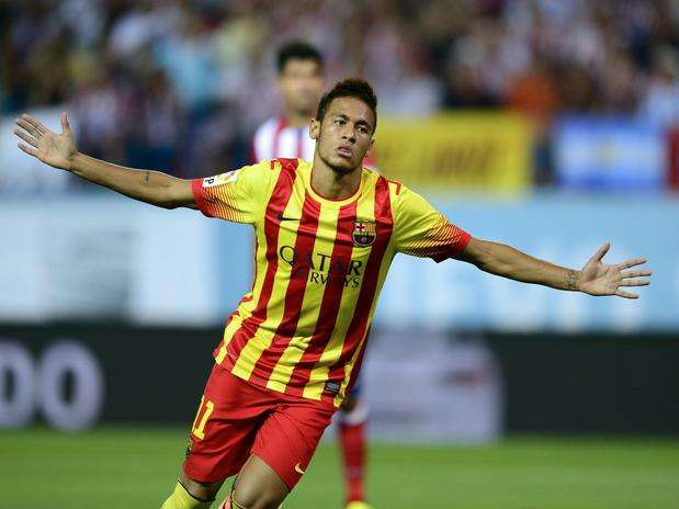 Neymar celebra gol Supercopa Atlético Madrid