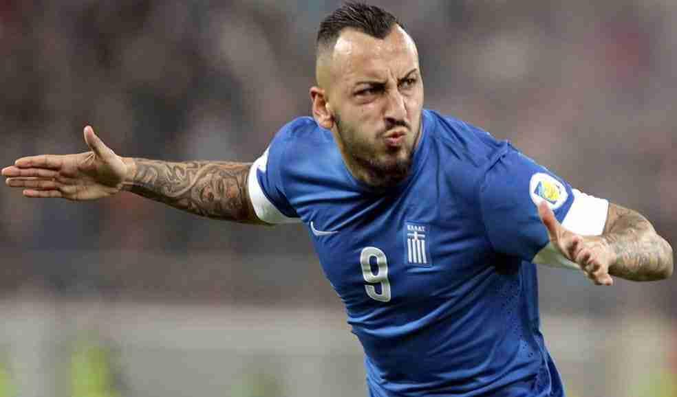 Mitroglou celebra gol Grecia
