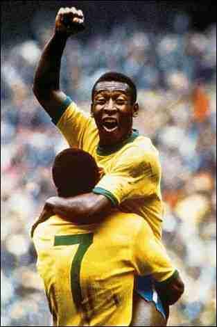 Pelé celebrando gol Mundial