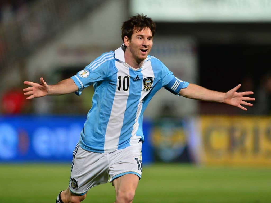 Messi celebra gol Argentina