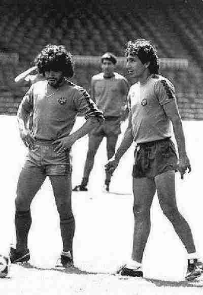 Diego Armando Maradona y Mágico González en el F.C.Barcelona