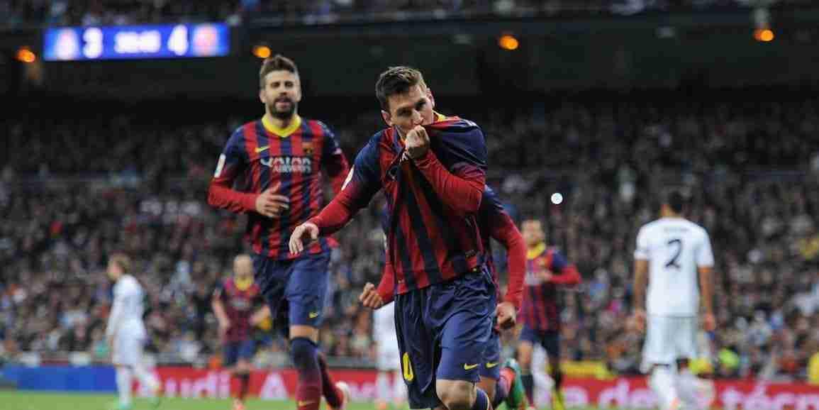 Messi celebra gol Santiago Bernabeu