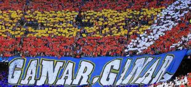 Tifo aficionados Atlético de Madrid mostraron antes del encuentro