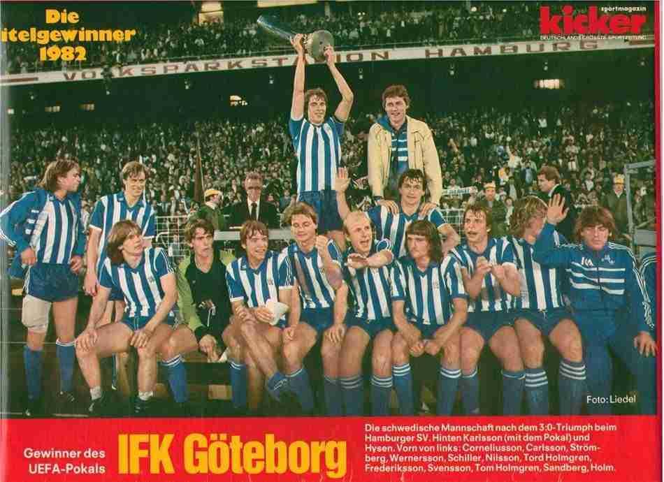 Revista Kicker celebración Goteborg campeón de la Copa de la UEFA