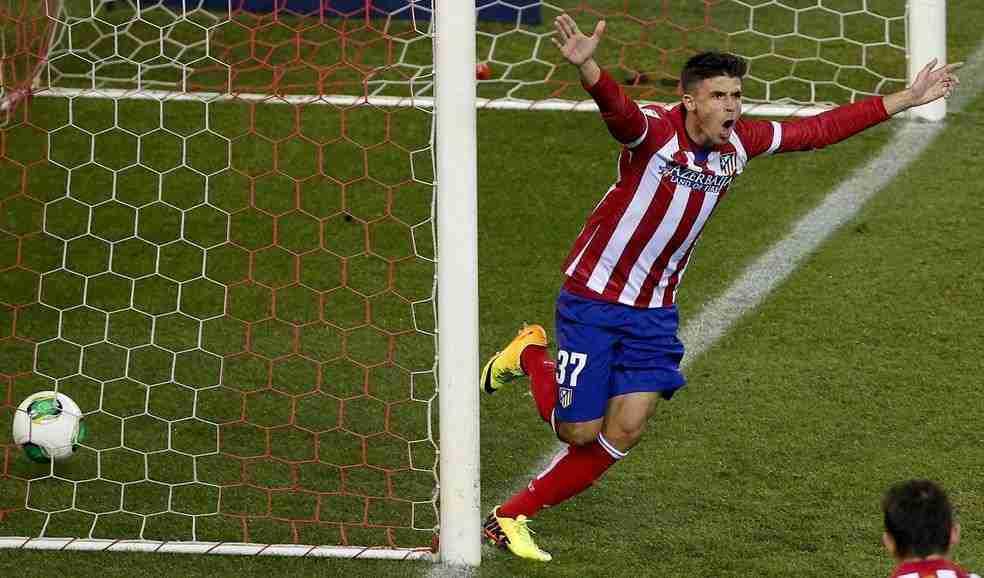 Héctor Fernández celebra su gol al Sant Andreu en Copa