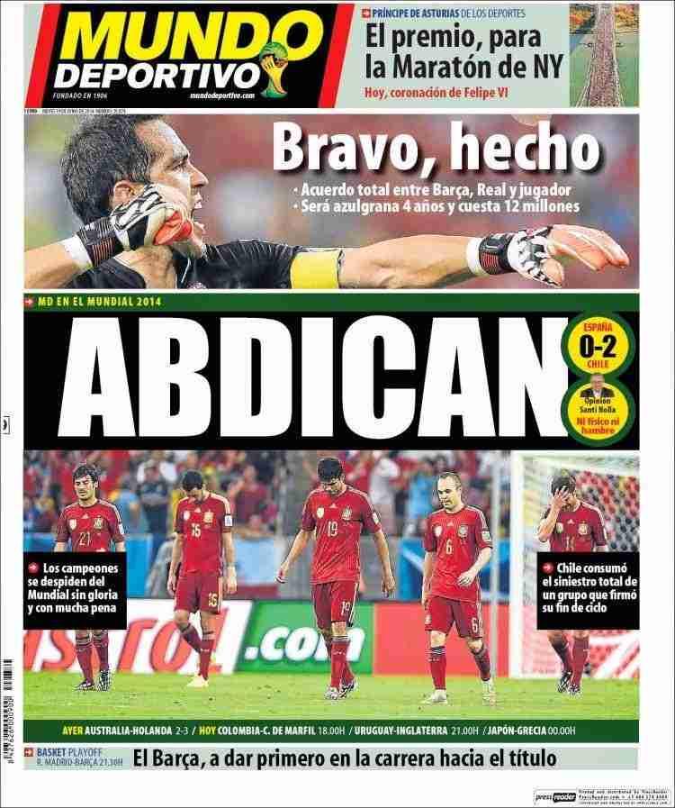 Portada Mundo Deportivo contra la selección española