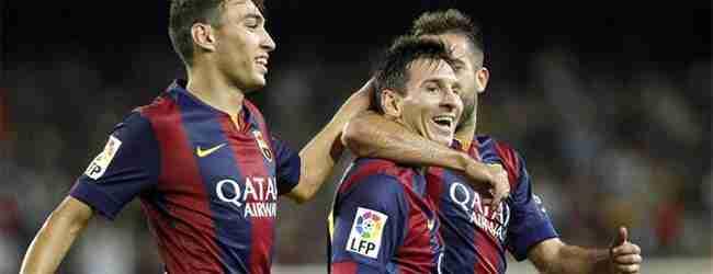 Lionel Messi celebra gol con Munir y Jordi Alba