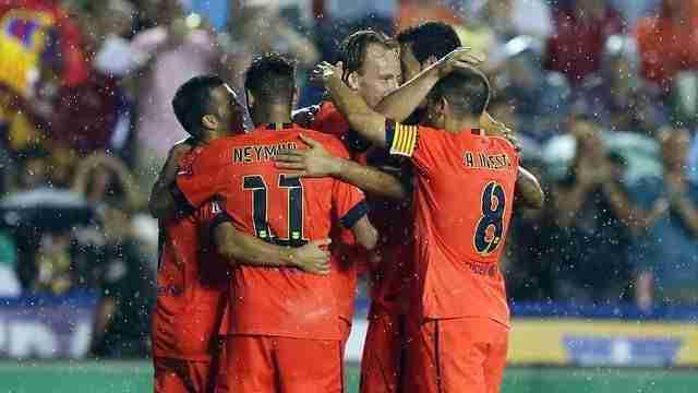 Celebración gol Neymar Iniesta y Rakitic