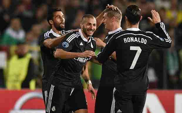 Celebración gol Benzema Ludogorets