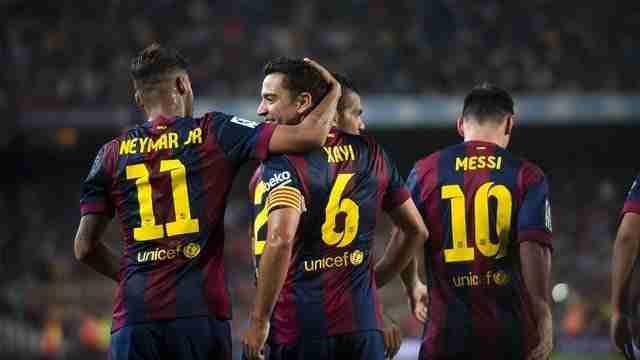 Xavi Neymar y Messi celebran gol Barcelona
