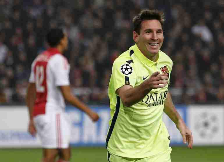 Messi celebra gol Ajax