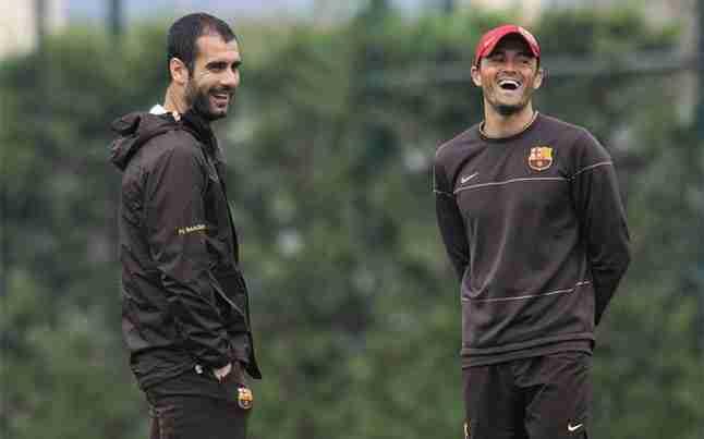 Luis Enrique y Guardiola entrenamiento