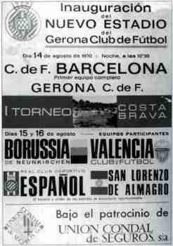 Cartel torneo amistoso de inauguración del estadio Montilivi