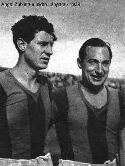 Isidro Lángara y Ángel Zubieta con la camiseta de San Lorenzo de Almagro.