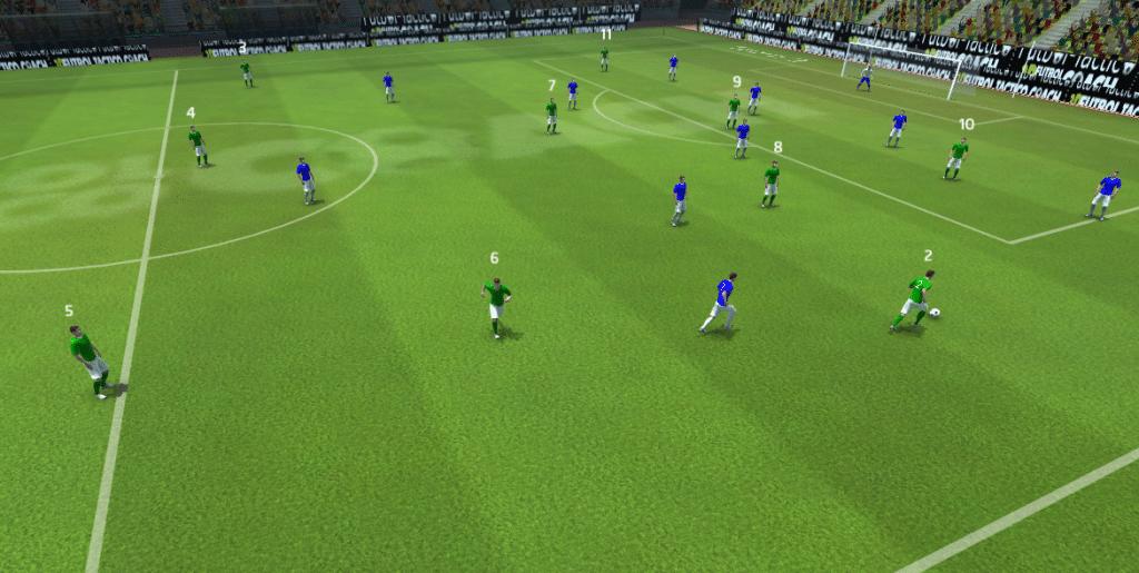 Disposición de dos equipos en donde apreciamos la proyección en ataque del jugador verde número 2, dejando desprotegida su zona