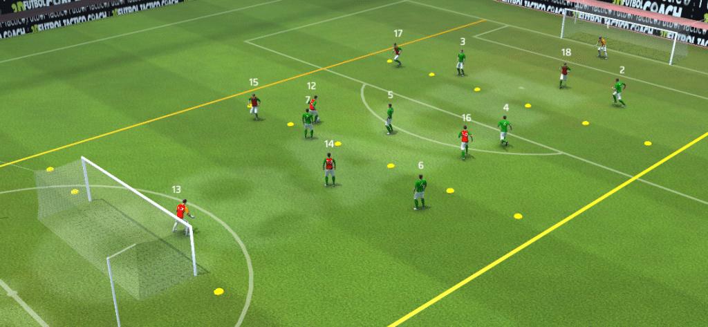 Una variante para est tarea podría ser el momento en el un le digamos a nuestros jugadores que hagan el desdoblamiento, fase defensiva u ofensiva.
