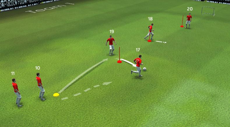 En este caso utilizamos las picas como rivales, despegandonos de ellos antes de recibir a la espalda. La disposición es la que se observa, 4 jugadores en fila con una portería pequeña al fondo.