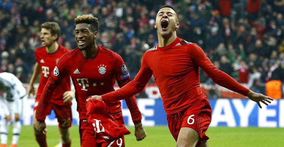 Thiago Alcántara celebra gol Bayer