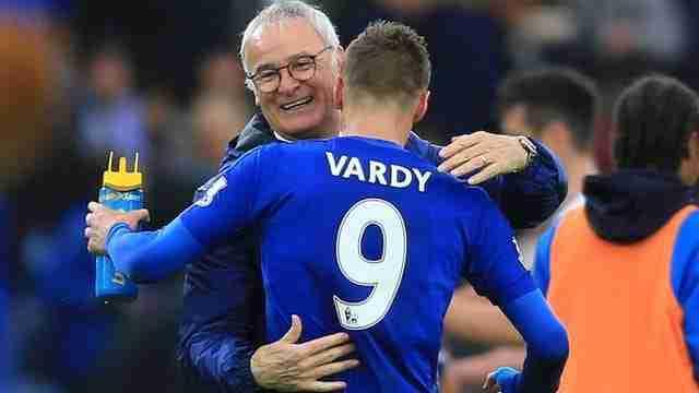 Ranieri abrazo Vardy