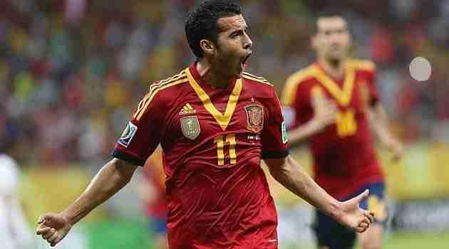 Pedro celebrando gol España