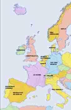 Mapa equipos fútbol Europa