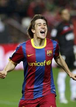 Bojan, celebrando un gol con la camiseta azulgrana