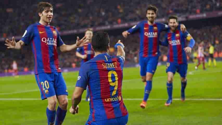 Suárez celebra gol contra Atletico Madrid