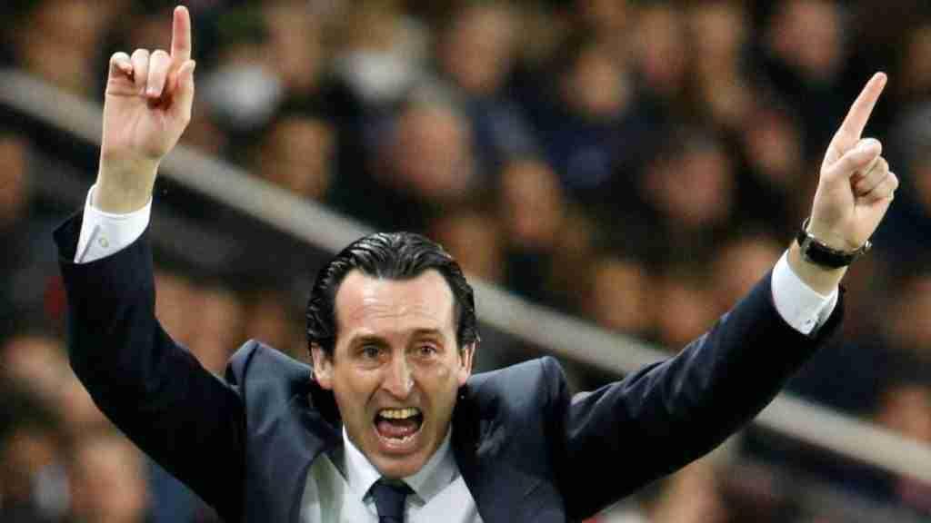 Unai Emery celebra gol psg barcelona