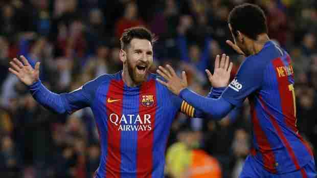 Messi celebra gol celta con Neymar