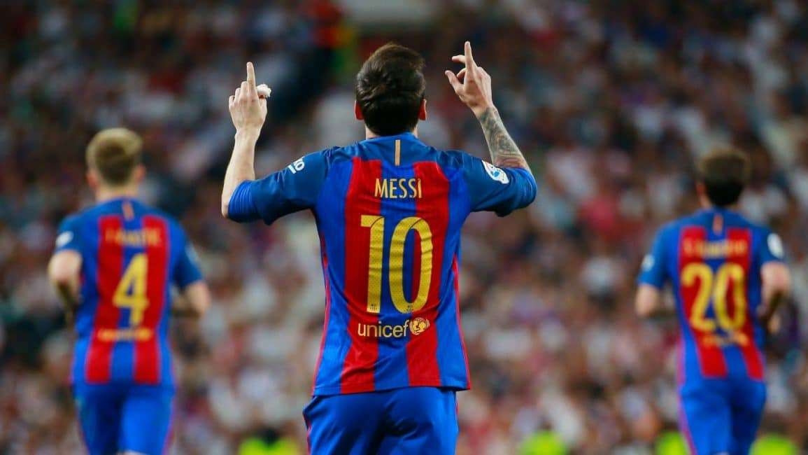 Messi celebra gol Barcelona