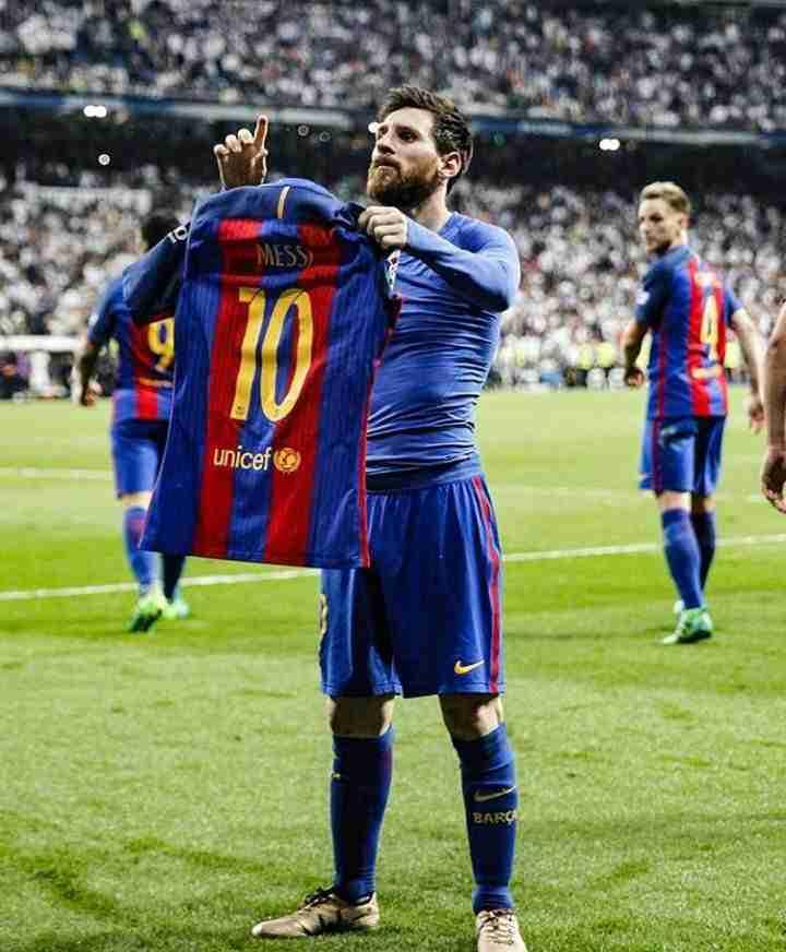 Messi celebra gol Bernabeu