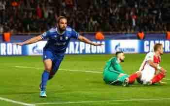 Higuaín celebra gol Mónaco
