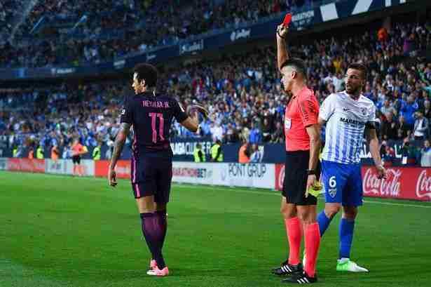 Málaga Barcelona Neymar expulsión