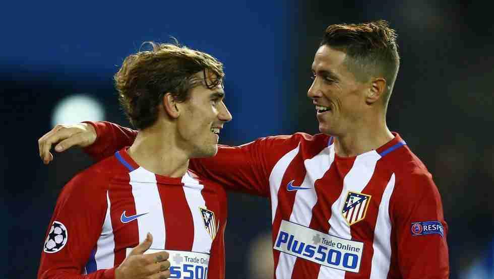 Griezmann y Torres celebrando gol
