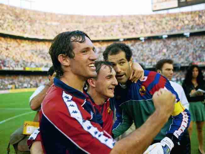 Goikoetxea celebra una Liga con Ferrer y Zubizarreta