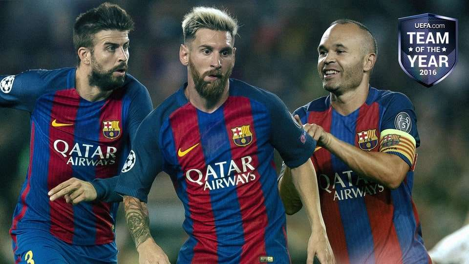 Piqué Messi Iniesta Uefa team of the year