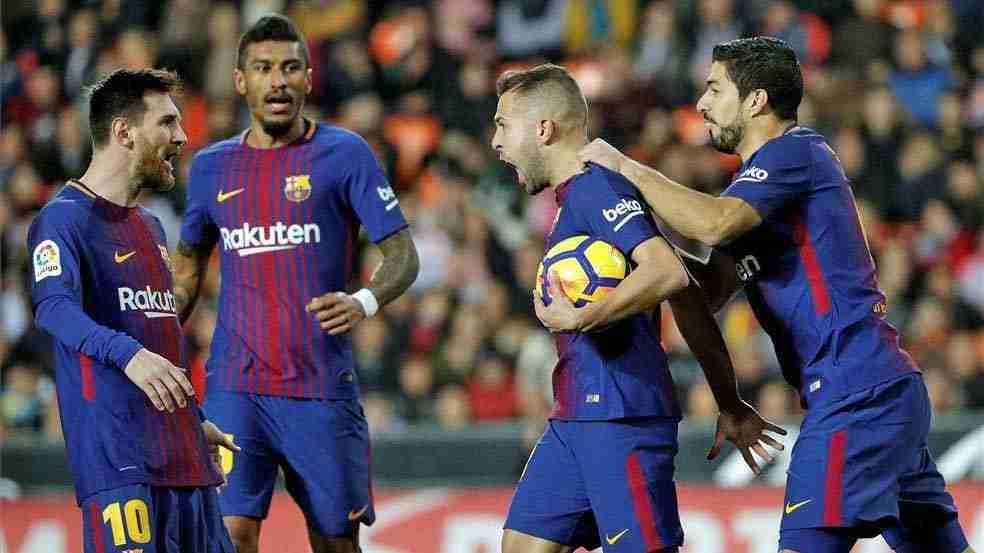 Jordi Alba celebra gol del FC Barcelona contra Valencia