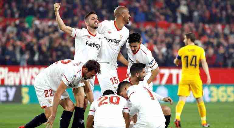 Celebración Sevilla elimina Atlético Copa
