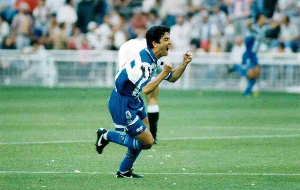 Bebeto celebrando gol Deportivo de la Coruña