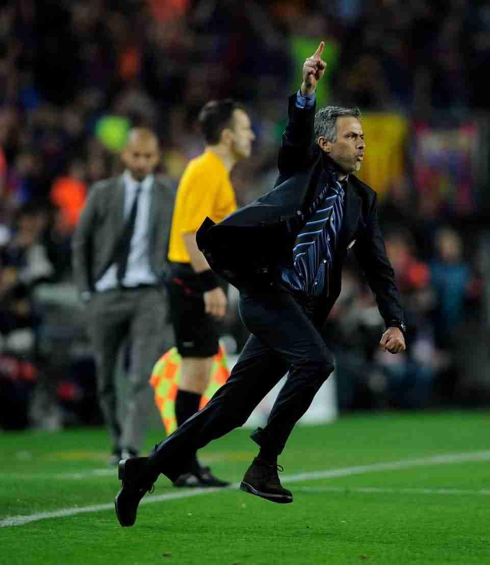 Mourinho celebra clasificación Inter Milan Barcelona