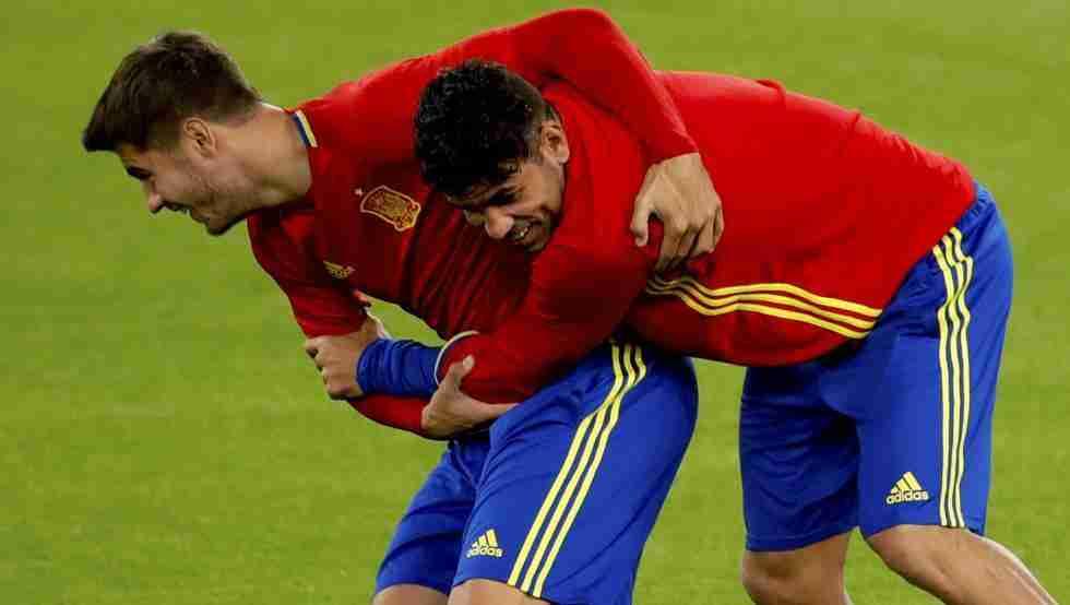 Morata y Diego Costa entrenamiento España