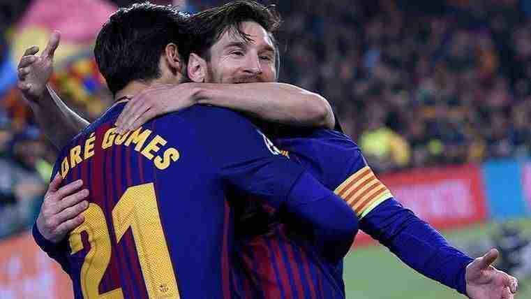 Messi y André Gomes celebra gol Leganés