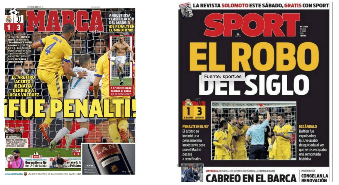 Portadas Marca y Sport Penalti Madrid Juventus