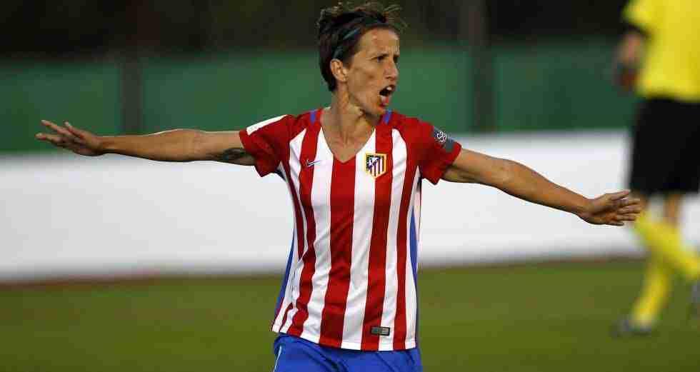 Sonia Bermúdez celebra gol Atlético